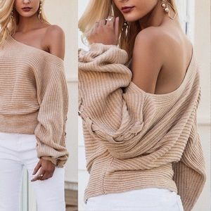 Off Shoulder Cross Braided Loose Knit Sweater